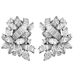 Elegant 20 Carats Mixed Shapes Diamonds Platinum Cluster Earrings