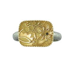 Luca Jouel Black Diamond 18 Carat Yellow Gold and Palladium Flora Ring