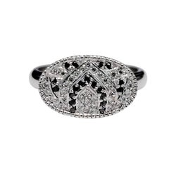 Luca Jouel  Black and White Diamond Platinum Lotus Unity Ring
