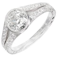 Peter Suchy 1.32 Carat Diamond Split Shank Platinum Engagement Ring