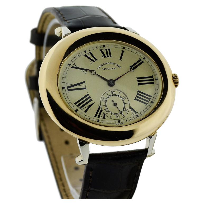 Movado White and Rose Gold Oversized Watch with Kiln Fired Enamel Numbers  For Sale