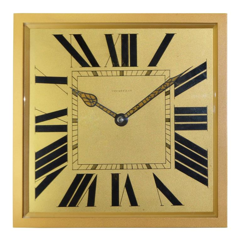 1920s Tiffany & Co. Brass and Gilt Art Deco Clock 1