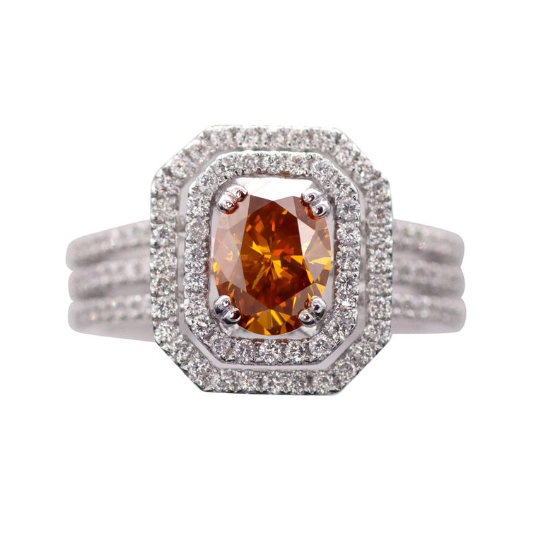 HRD Certified Fancy Intense Yellowish Orange Diamond Engagement Ring