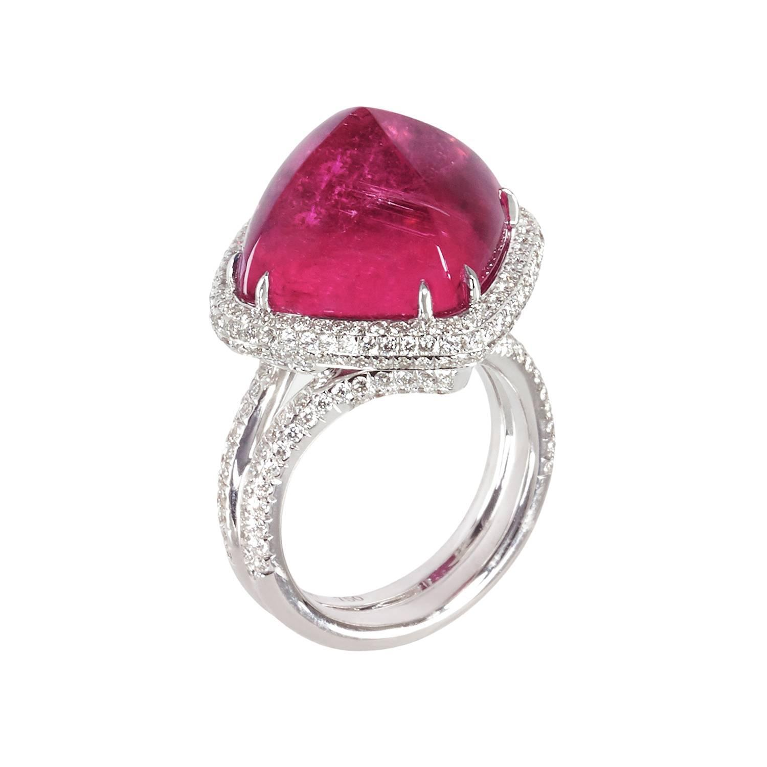 Rubellite Sugarloaf And Diamond Ring For Sale At 1stdibs