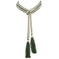 Versatile Pearl and Apatite Bead Sautoir Tassel Necklace with Wedgwood Cameo