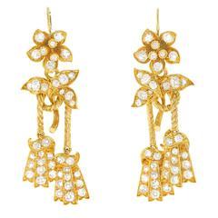 Victorian Diamond Gold Dangle Earrings