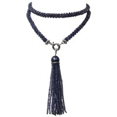 Woven Iolite Sautoir and Tassel with a Black Pearl and Silver and Gold Clasp