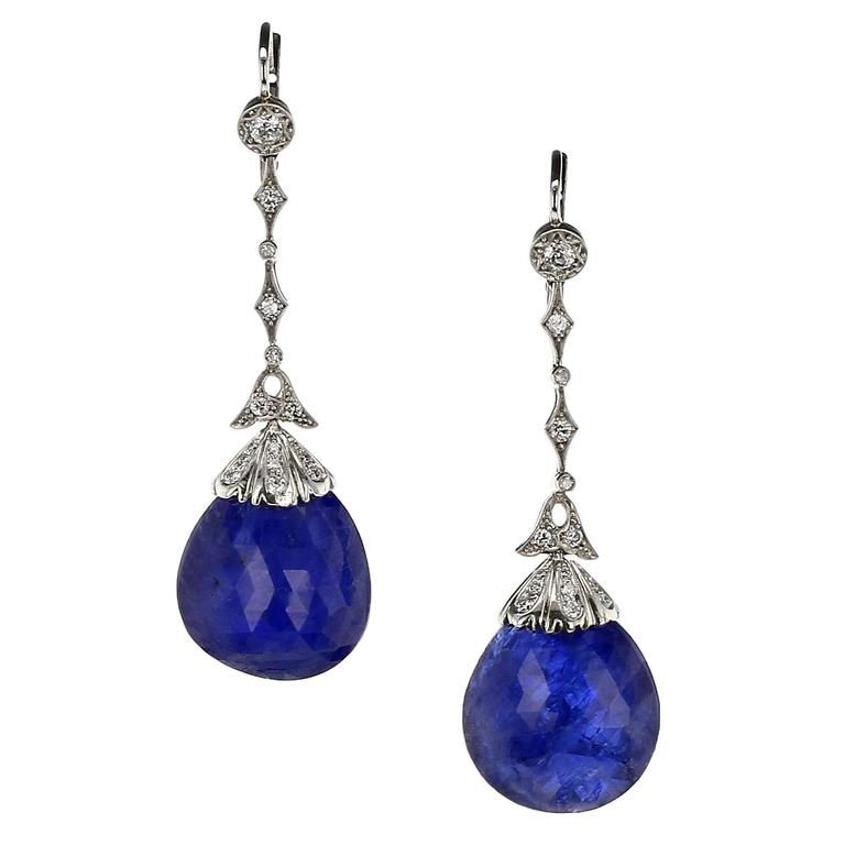 20th Century Sapphire Diamond Gold Platinum Earrings For Sale