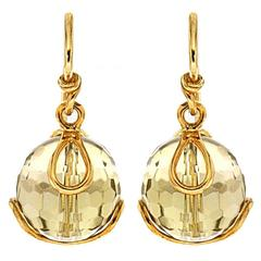 Carina Citrine Bead Gold Earrings
