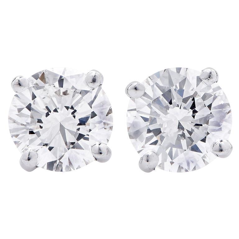 2.64 Carat GIA Certified Diamond Platinum Stud Earrings 1