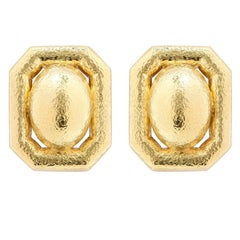 David Webb Hammered Textured Gold Clip Earrings