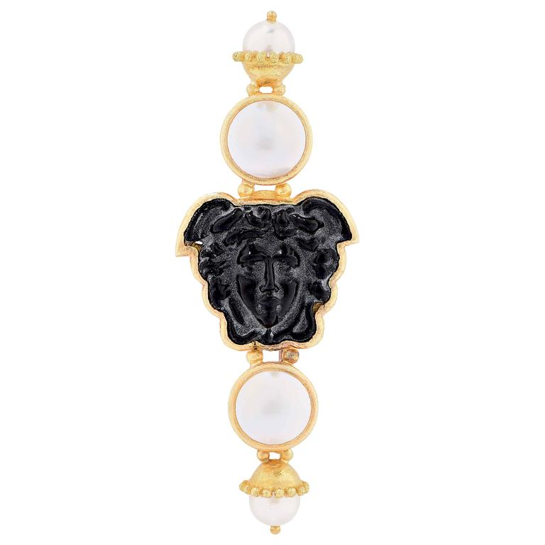 Elizabeth Locke Pearl Carved Onyx Gold Brooch