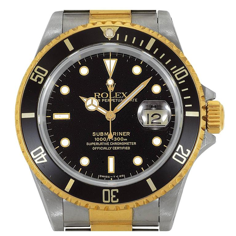 Rolex Yellow Gold Stainless Steel Black Dial Chronometer Submariner Wristwatch  1