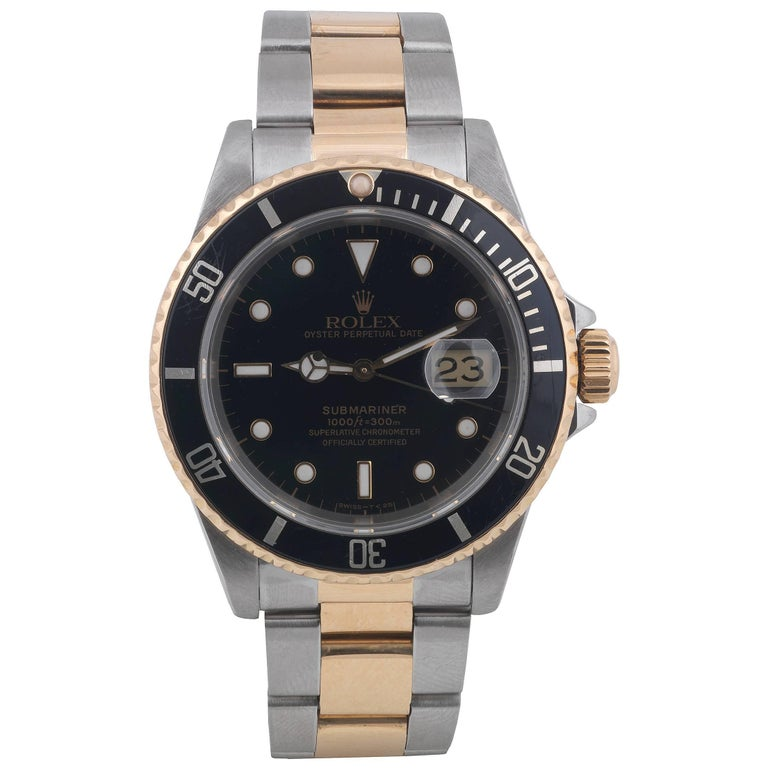 Rolex Yellow Gold Stainless Steel Black Dial Chronometer Submariner Wristwatch