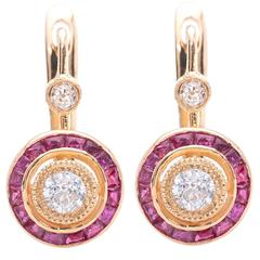 Striking French Cut Ruby and Diamond Gold Earrings