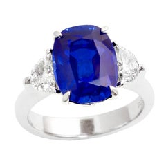 Rare 5.54-Carat No-Heat Kashmir Sapphire Diamond Engagement Ring