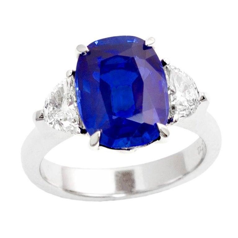 5.54-Carat No-Heat Kashmir Sapphire Diamond Engagement Ring