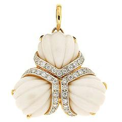 Triple Fan Hand-Carved Cocolon Cacholong Diamond Gold Pendant