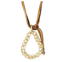Faye Kim 22k Gold Woven Teardrop Granulation Pendant with Diamond Bail.