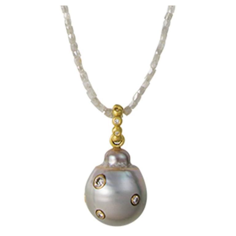 Faye Kim Diamond Gold Tahitian Pearl Pendant on Diamond Bead Necklace