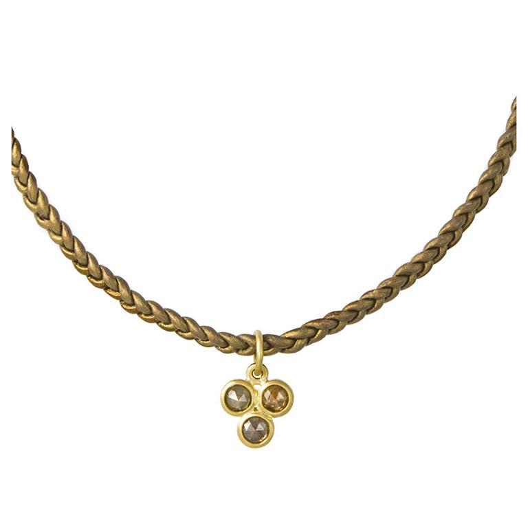 Faye Kim Milky Diamond Gold Pendant on Braided Leather Cord