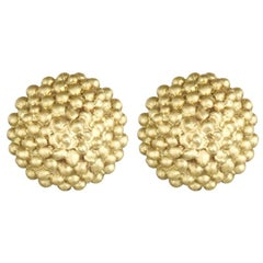 Faye Kim 18k Gold Granulation Bead Stud Earrings
