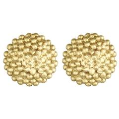 Faye Kim Gold Granulation Bead Stud Earrings