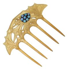 Lucien Gaillard French Art Nouveau Horn and Opal Hair Comb