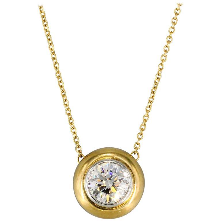 Tiffany & Co. Diamond Gold Platinum Pendant Chain Necklace 1