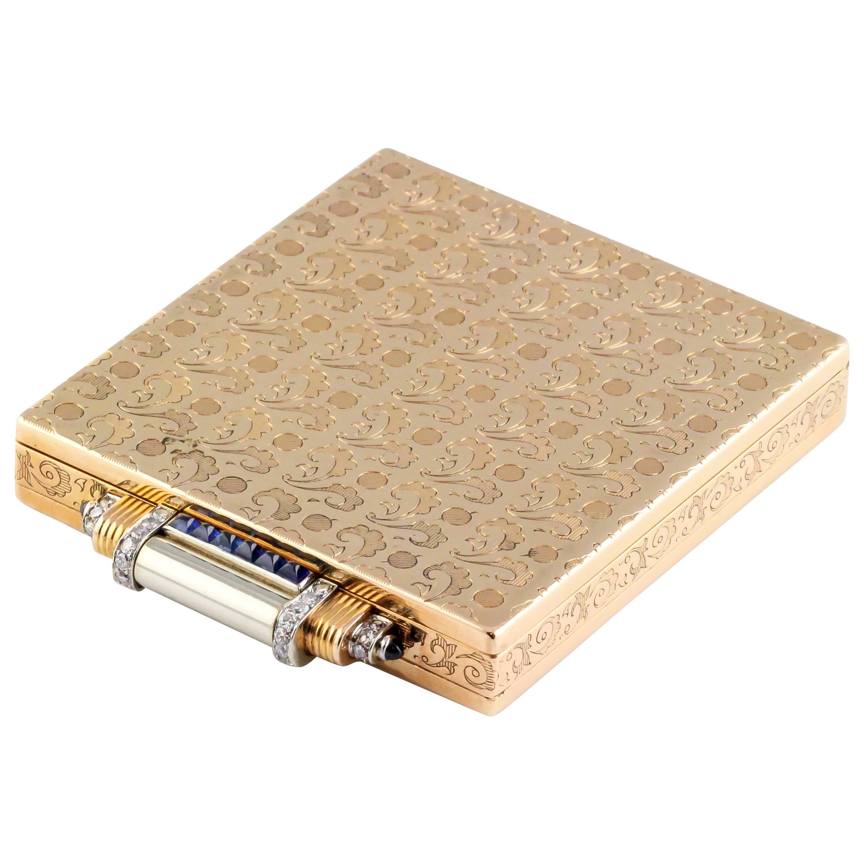 Boucheron Paris Sapphire Diamond Gold Compact Case