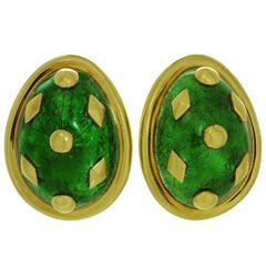 Tiffany & Co. Schlumberger Dot Losange Green Enamel Gold Clip-on Earrings