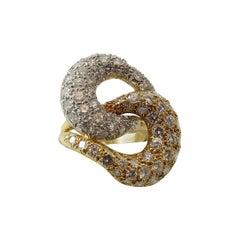 Montreaux Pave Diamond Gold Platinum Swirl Ring