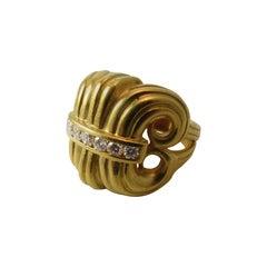 Lagos Diamond Gold Scroll Design Ring