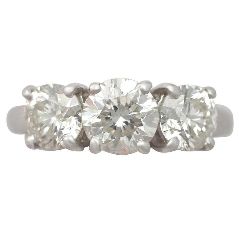 2.76 Carat Diamond and 18 Karat White Gold Trilogy Ring, Vintage, circa 1990