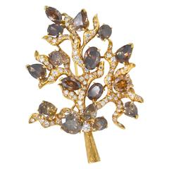 Julius Cohen Natural Fancy Cognac Diamond Gold Tree Brooch