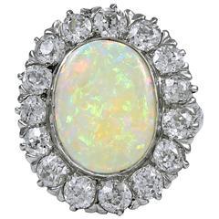Spectacular Antique Opal Diamond Platinum Ring