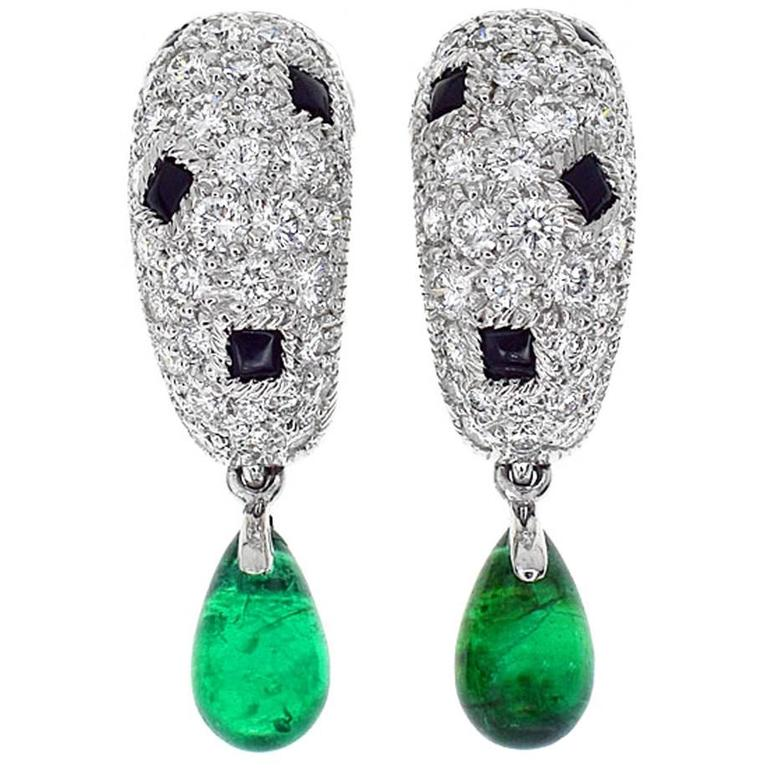 Cartier Panthere Onyx Emerald Diamond Gold Earrings For