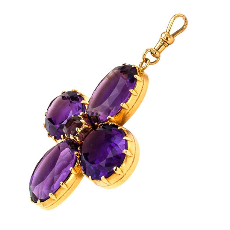 Women's or Men's Victorian Amethyst Gold Cruciform Pendant For Sale