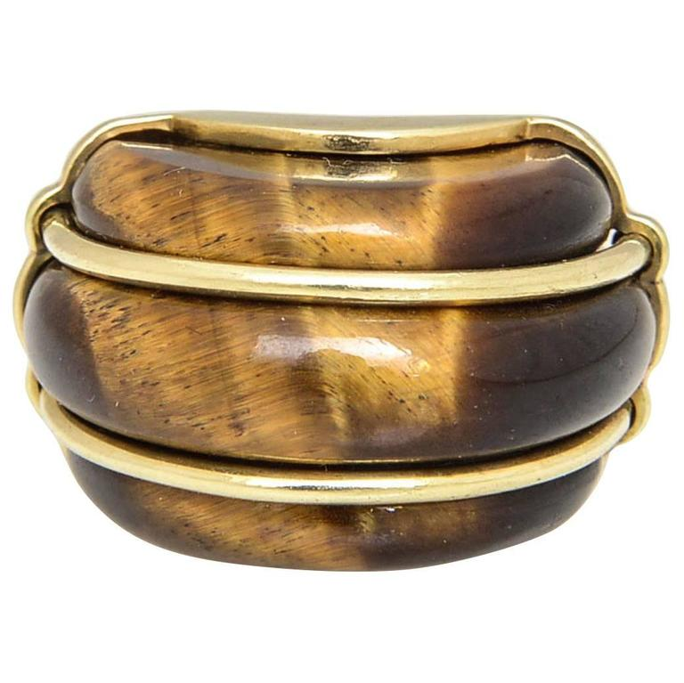 1970s Tiger's Eye and Gold Ring