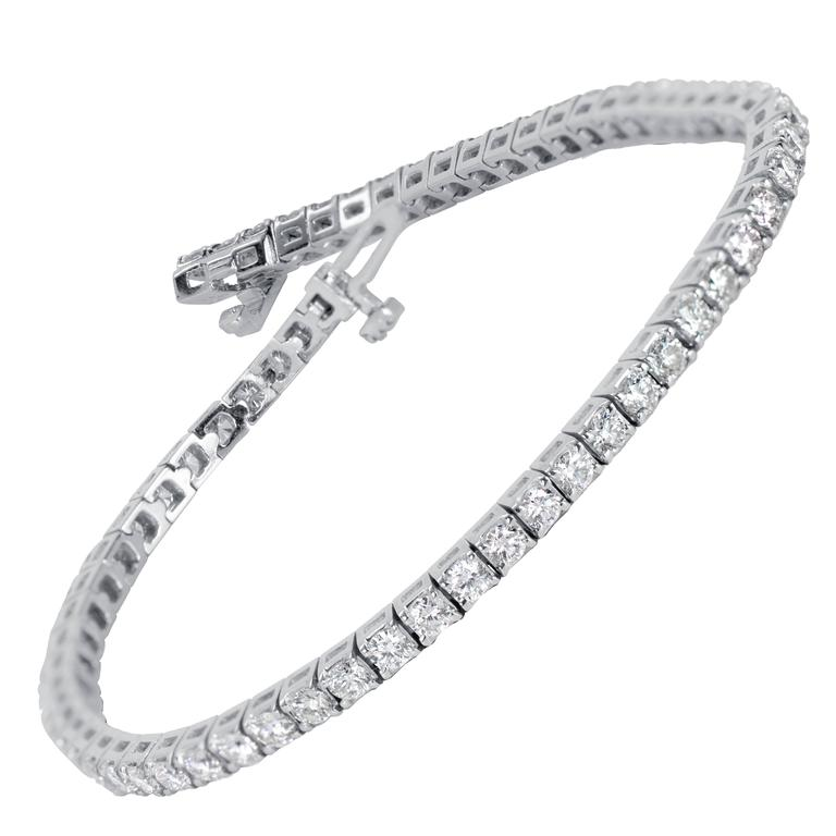 Three Row Diamond Tennis Bracelet At 1stdibs