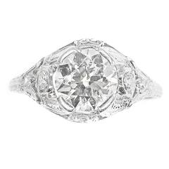 1930s Art Deco Old European Cut Diamond Platinum Engagement Ring