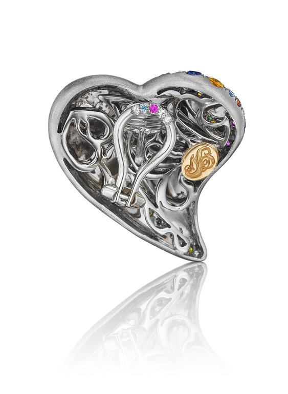 Earrings that match Naomi's award winning Confetti Heart Ring which was recently on display at the AGTA Spectrum Awards Gala.  An exuberance of joy and color. These Confetti Heart Earrings leap into sophisticated extravagance. Made entirely of