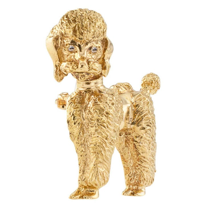 1950s Gold Poodle Brooch with Diamond Eyes In Excellent Condition For Sale In Los Angeles, CA