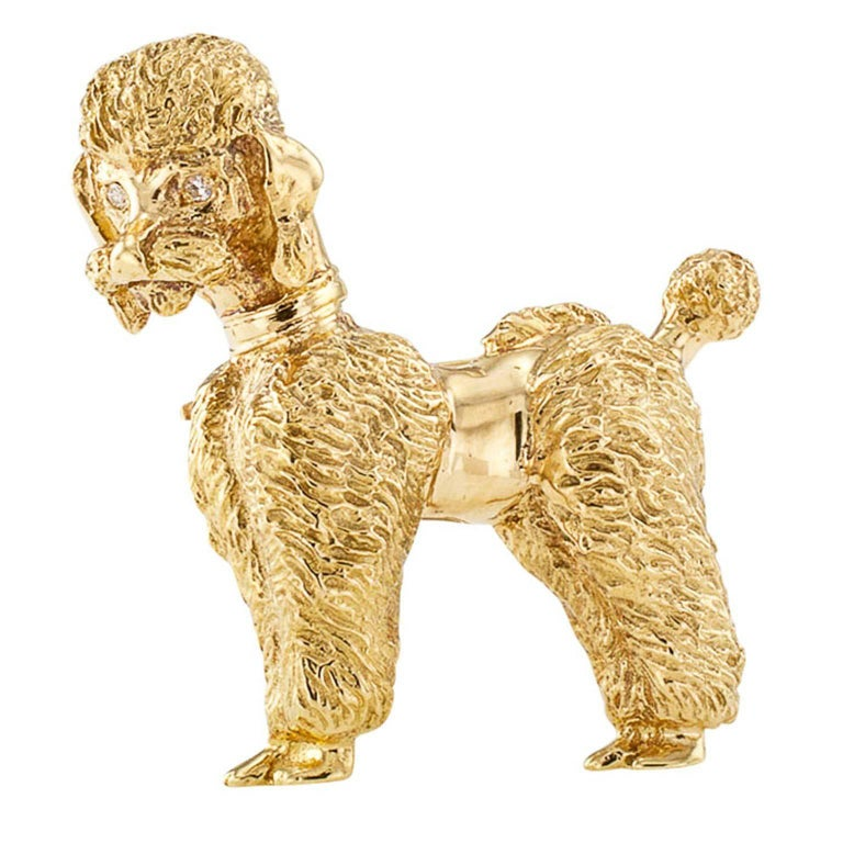 Women's or Men's 1950s Gold Poodle Brooch with Diamond Eyes For Sale