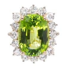 Peter Suchy 14.83 Carat GIA Cert Peridot Diamond Halo Gold Cocktail Ring
