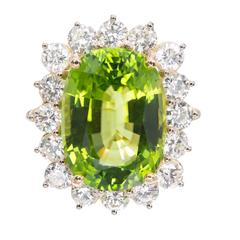 Peter Suchy 14.83 Carat GIA Cert Peridot Diamond Halo Gold Ring