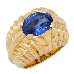 5.15 Carat Burma Sapphire No Heat AGL Graded Boucheron Paris 18 Karat Gold Ring