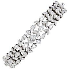 Diamond Scene Three Row Diamond Gold Bracelet