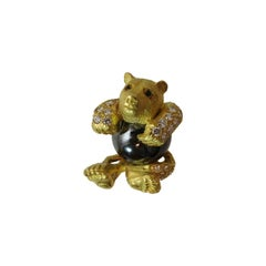Hematite Emerald Diamond Gold Bear Pin