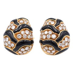 Van Cleef & Arpels Onyx Diamond Gold Earrings